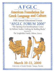 Forum 2000 conference of the American Foundation for Greek Language and Culture, Tampa, Florida, USA 2000_PROGR_001