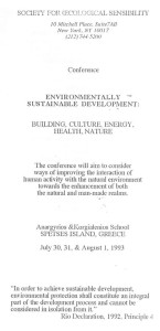 1993_Conference on Environmentally Sustainable Development, Spetses, Greece_ Programme Cover