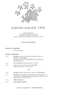 1996_Europe Dialogue, Frankfurt Programme1