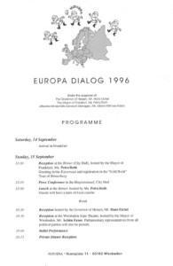 1996_Europe Dialogue, Frankfurt Programme1