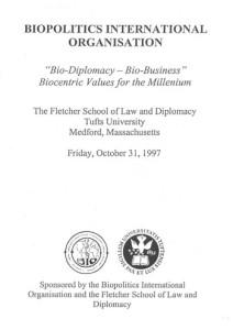 Bio Diplomacy and Bio Business, USA 1997_PROGR_001